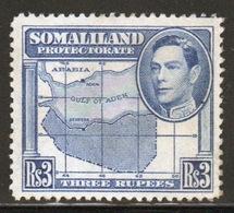 Somaliland Protectorate 1938 George VI Single Three Rupee Blue Stamp. - Somaliland (Protectorate ...-1959)