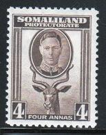 Somaliland Protectorate 1942 George VI Single Four Anna Sepia Stamp. - Somaliland (Protectorate ...-1959)