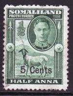 Somaliland Protectorate 1951 George VI Single Half Anna Green Stamp. - Somaliland (Protectorate ...-1959)