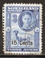 Somaliland Protectorate 1951 George VI Single Three Anna Blue Stamp. - Somaliland (Protectorate ...-1959)
