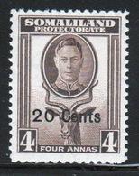 Somaliland Protectorate 1951 George VI Single Four Anna Sepia Stamp. - Somaliland (Protectorate ...-1959)