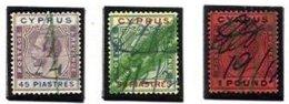 CYPRUS, Classics, Yv 102/03, 105, Used, F/VF, Cat. € 690 - Cyprus (...-1960)