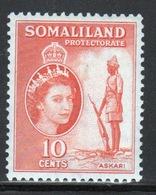 Somaliland Protectorate 1953 Queen Elizabeth 10 Cent Orange Stamp. - Somaliland (Protectorate ...-1959)