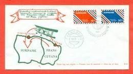 AVIAZIONE  AEREI  -SURINAME - PARAMARIBO- ANNIVERSARIO VOLO CAYENNE -PARAMARIBO - MARCOFILIA - Suriname