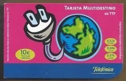 ES.- Telefonica De Espana. Tarjeta Multidestino De TTP. Telefonica. NO. De Serie 0-08177-000968-0000010 - Spanje