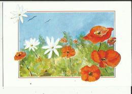 Carte  Depliante  De   ( Neuve ) Fleurs Champetre ) De Nicole Grab -repro Peinte A La Bouche - Autres