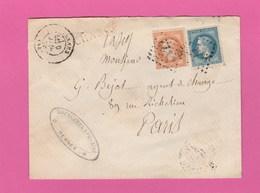 LSC - Rennes - N°29 Et N°31 Napoléon III Lauré - Chargé Vers Paris - 1863-1870 Napoléon III Lauré