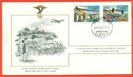AVIAZIONE  AEREI  -UGANDA-KAMPALA-FDC-75° PRIMO VOLO - MARCOFILIA - Uganda (1962-...)