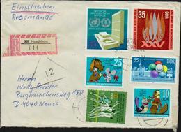 DDR R-Brief Michel 1808, 1811, 1883, 1898, 1929, 2346 Einschreiben, 2 Bilder, Tauschsendung Philatelistenverband - DDR