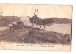 CPA 83 Ste Maxime La Plage De La Croisette Et Le Train Tramway - Sainte-Maxime