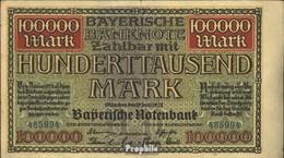 Bavière Rosenbg: BAY9, Länderbanknote Bavière Utilisé (III) 1923 100.000 Mark - 1918-1933: Weimarer Republik