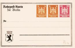 ALLEMAGNE , Rohrpost Carte Pour Berlin  /entier Postal Neuf, Avec Trois Valeurs Simultanées:  36 D TB - Allemagne
