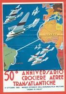 AVIAZIONE  AEREI  -50° RAID DE PINEDO-DEL PRETE-- MARCOFILIA-FOLDER CON 36 BUSTE/CARTOLINE +FGL ERINNOFILO+CARTINA - Aviatori