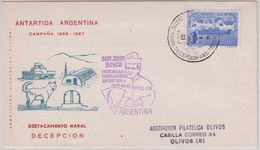 Argentina 1967 Antarctica Base  Destacamento Naval Decepcion Ca 1-1-67 Cover (40085) - Postzegels