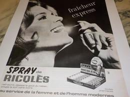 ANCIENNE PUBLICITE SPRAY DE RICQLES  1966 - Posters