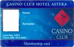 BULGARIA KEY CASINO Casino Club Astera - VARNA (PHOTO ALBUM ,CARD IS IN GOOD CONDITION) - Casino Cards