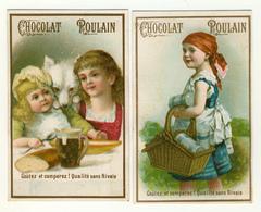 2 CHROMOS  CHOCOLAT  POULAIN    ENFANT   CHIEN   PANIER - Poulain