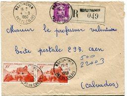 PAS DE CALAIS De HARDINGHEN  Env. Recom. De 1950 Avec Dateur A 7 - 1921-1960: Période Moderne