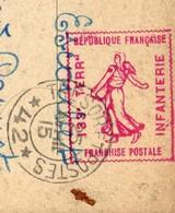 TIMBRE IMPRIMÉ FAÇON ENTIER POSTAL 133 è Terr Infanterie Franchise Militaire Sur Carte Postale Trésor Et Postes 42 - Régiments
