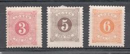 SVEZIA 1874  SEGNATASSE  3+5+6  NUOVI * - Neufs