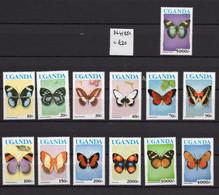 1990/92 - UGANDA- Mi. Nr. 834/843 + 1084/1086 - LH - (UP121.12) - Uganda (1962-...)