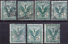 Italy 1901 - Eagle And Ornaments ( Mi 76 - YT 66 ) 7 Stamps - 1900-44 Victor Emmanuel III.