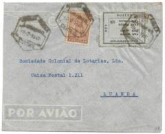 ANGOLA (Portugal) - 1947 TAX PERϚU Airmail Paid Provisional + 50c Ceres - LUBANGO To LUANDA - Scarce - Angola
