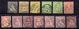 "Suisse Treize ""Helvetia Assise"" 1862/1881. Bonnes Valeurs. B/TB. A Saisir! - 1862-1881 Sitted Helvetia (perforates)"
