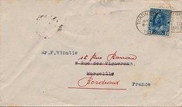 Lettre Five Cent Toronto Exhibition Pour La France Redistribué - 1911-1935 Règne De George V