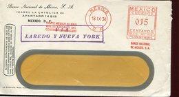 37032 Mexico, Red Meter Freistempel Ema 1934 Mexico Banco Nacional De Mexico S.a. - México