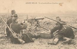 076/27 - Carte-Vue MILITARIA -  Armée Belge Tir à La Mitrailleuse - Verso Publicité Vetements Au Mineur à CHARLEROI - Belgique