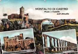 """07432 """"MONTALTO DI CASTRO (VT) - PONTE E CASTELLO DELL'ABBADIA"""" CART. ILL. SPED. '968 - Italia"""