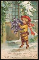MEISJE MET BLOEMEN ( WINTER ) RELIEF  GAUFREE - Enfants