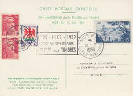 Carte   FRANCE   30éme  Anniversaire  De  La  BOURSE  AUX  TIMBRES     NICE     1959 - Commemorative Postmarks