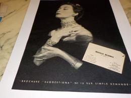 ANCIENNE PUBLICITE BIJOUX  BURMA  1952 - Other
