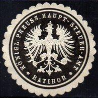 SIEGELMARKE GERMANY, RATIBOR - KÖNIGLICHE PREUSS.HAUPT-STEUER-AMT - Fantasy Labels
