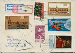 DDR R-Brief Michel 1127, 1140, 1289, 2358, 2545, 2675 Einschreiben, 2 Bilder, Tauschsendung Philatelistenverband - DDR