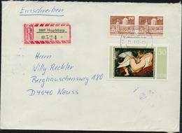 DDR R-Brief Michel 2234, 2602 (x2) Einschreiben, 2 Bilder, Tauschsendung Philatelistenverband, Rubens Leda - DDR