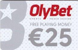 ESTONIA  KEY  CASINO OlyBet €25 White - TALLINN - PLASTIC CARD - Casino Cards