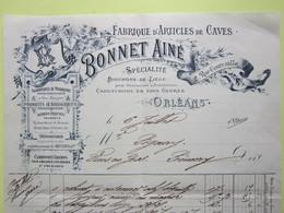 FACTURE à ENTÊTE, ARTICLES DE CAVES, OENOLOGIQUES, BONNET Ainé à ORLEANS (Loiret) Le 6/07/1899 Pour PREMERY (Nièvre) - France