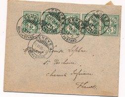 Lettre Bande De 5 Genève Pour La France Cover - 1882-1906 Armarios, Helvetia De Pie & UPU