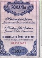 "Romania, 2008, Vehicle Registration Certificate / ID Card - ""ALFA ROMEO"" - Historical Documents"