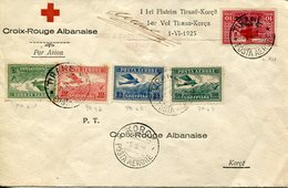 37050 Albania, Croix Rouge 1er Vol Tirana Korca 1-VI-1925 Posta Aerore (see 2 Scans) First Flight 1925 - Albania