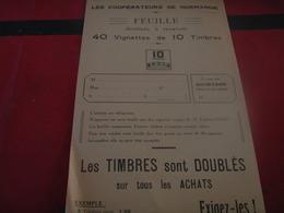COOPERATEURS DE NORMANDIE /FEUILLE TIMBRES COOP - Advertising