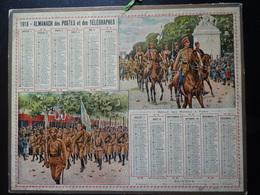 """Calendrier De 1918 Almanach Des Postes Et Des Télégraphes """"Défilé Des Russes à Paris"""" (département De L'indre) - Calendars"""