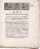 LOI RELATIVE A LA SUSPENSION DU POUVOIR EXECUTIF -SIGNE DANTON -1792 - Decrees & Laws
