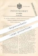 Original Patent - Dr. Alfred Stephan , Groß Lichterfelde / Berlin 1902 , Darstellung Einer Santalolformaldehydverbindung - Historical Documents