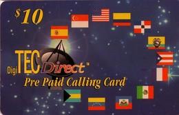 TARJETA TELEFONICA DE ESTADOS UNIDOS (PREPAGO). DIGITEC DIRECT, BANDERAS $10. (003) - Vereinigte Staaten