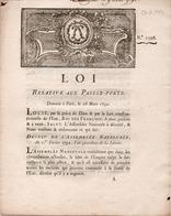 LOI RELATIVE AUX PASSE-PORTS - DOCUMENT 4 PAGES - 28 MARS 1792 - Decrees & Laws
