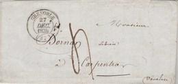 Lettre Cachet GRENOBLE Isère 27/12/1839 Taxe Manuscrite Pour Carpentras Vaucluse Passe Valence - Marcophilie (Lettres)